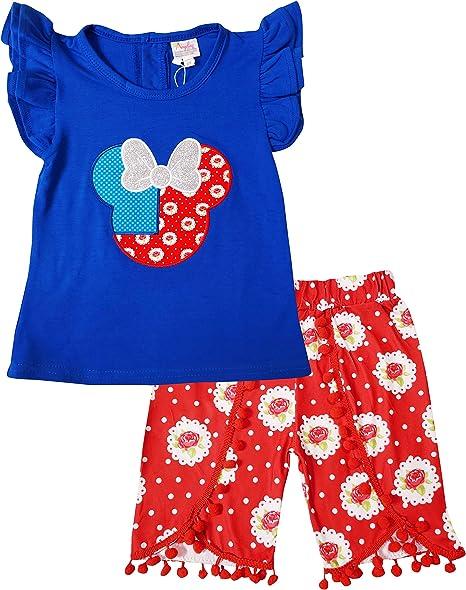2 pc Knit Playwear Set Baby Little Girls Cartoon Character Disney Minnie Top Capri or Short Outfits