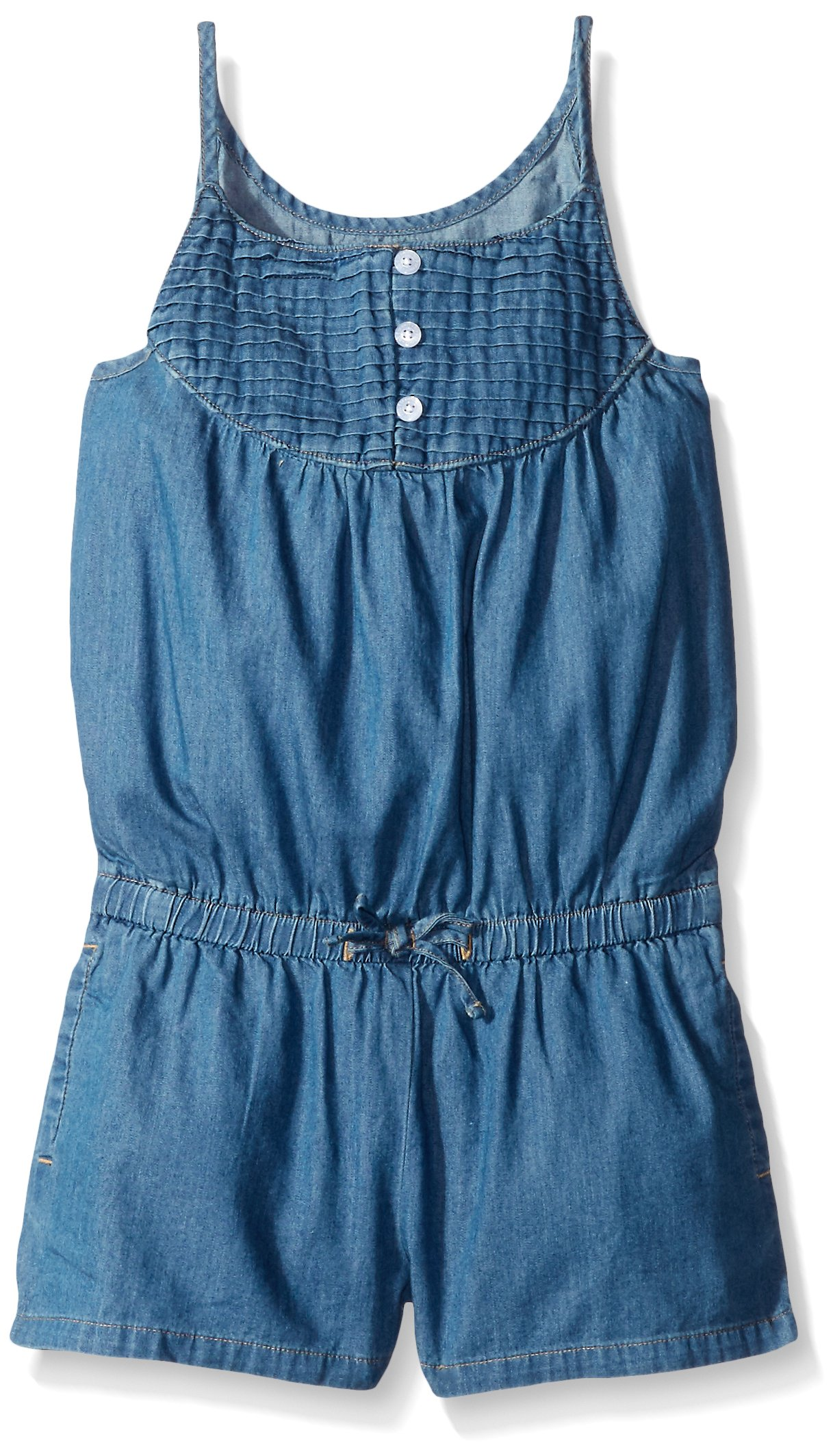 Scout + Ro Big Girls' Pintuck Denim Romper, Medium Wash, 12