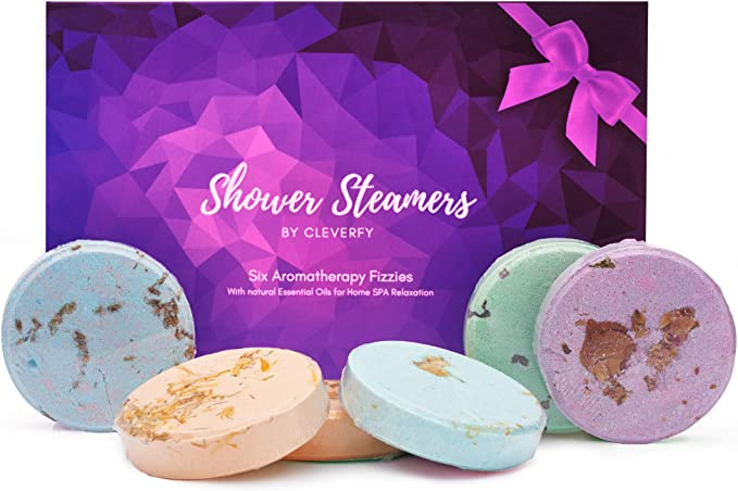 Cleverfy Aromatherapy Shower Steamers - Mothers Day Variety Pack of 6 Shower Bombs with Essential Oils. Purple Set: Lavender, Menthol & Eucalyptus, Vanilla, Watermelon, Grapefruit, and Peppermint