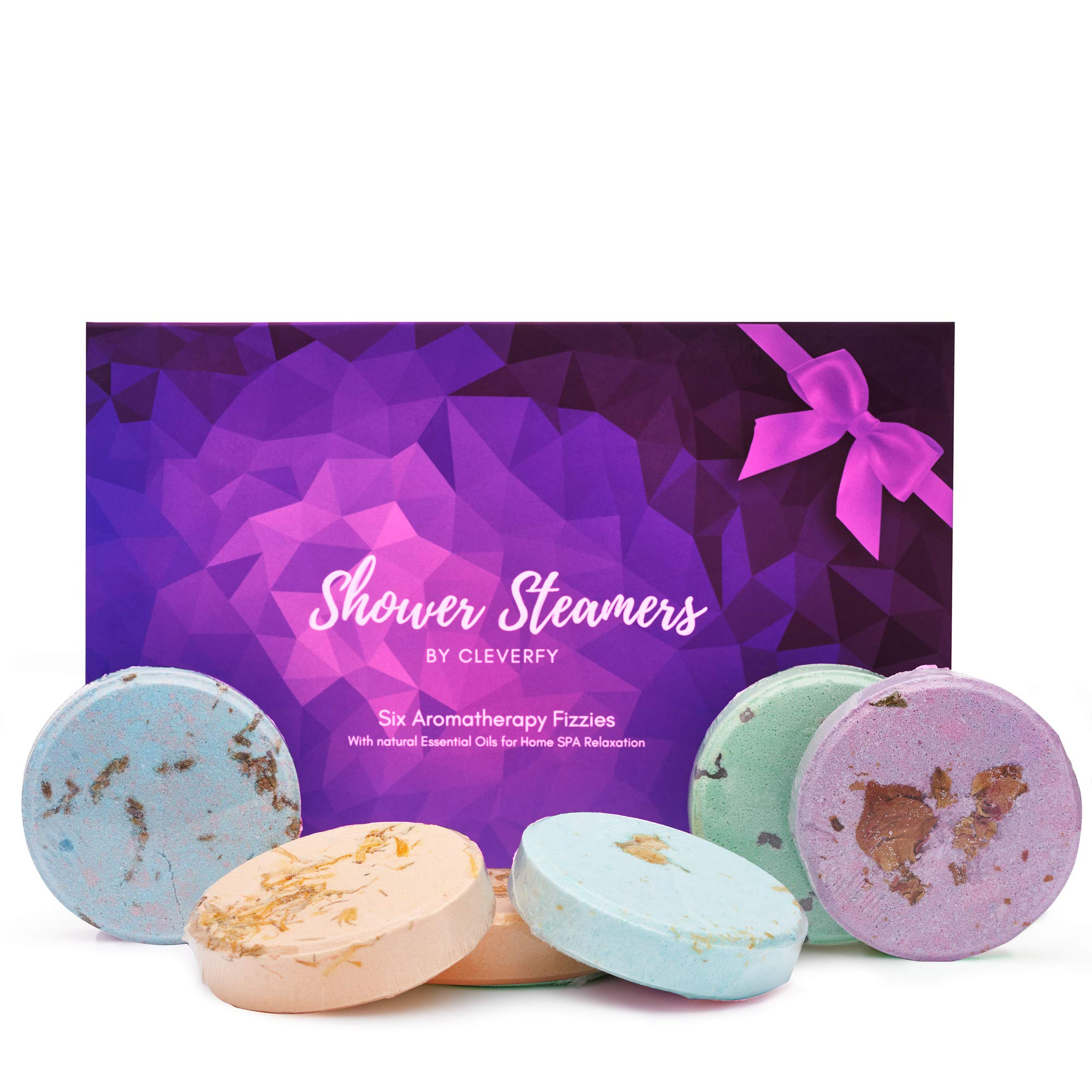 Cleverfy Shower Bombs Aromatherapy - Gift Set of [6] Shower Steamers - With Essential Oils For Home Spa. Shower Melts a.k.a. Vaporizing Shower Tablets are Perfect for Sinus Relief by CLEVERFY