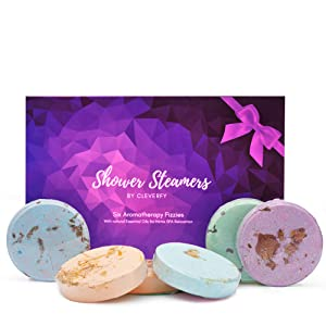 Cleverfy Shower Bombs Aromatherapy - Gift Set of [6] Shower Steamers - With Essential Oils For Home Spa. Shower Melts a.k.a. Vaporizing Shower Tablets are Perfect for Sinus Relief