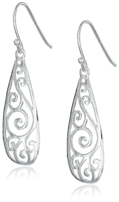amazon com sterling silver filigree teardrop earrings jewelry