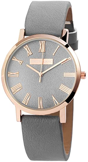 Reloj mujer gris Rosè Oro números romanos Analógico de Cuarzo Piel Reloj de pulsera