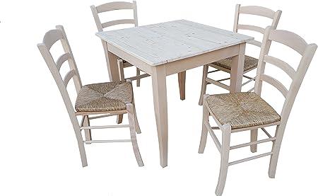 Tavolo Con 4 Sedie In Legno Massello Grezzo Da Verniciare Tavolo Cm 80x80 Con Piedi A Sciabola In Legno Massello E Piano In Pino Amazon It Casa E Cucina