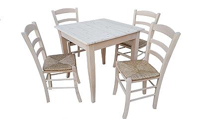 TAVOLO CON 4 SEDIE in legno massello grezzo da verniciare (tavolo cm ...