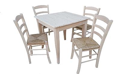 TAVOLO CON 4 SEDIE in legno massello grezzo da verniciare (tavolo ...