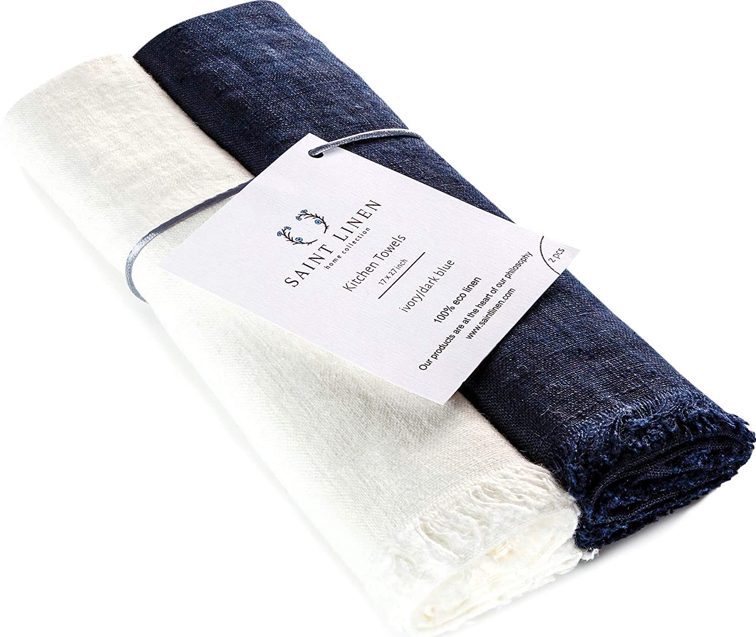 Set of 2 Linen Kitchen Towels Dish Cloth Stone Washed Towels in Ivory and Dark Blue Size 17