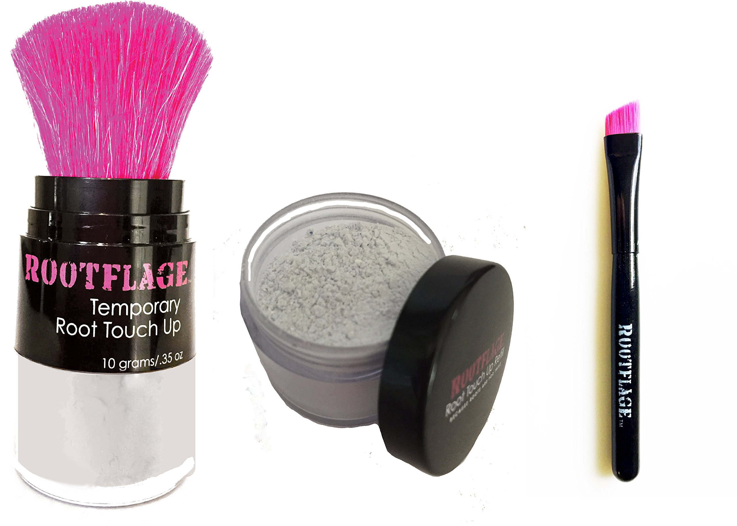 Rootflage Root Touch Up - Icy Platinum White Temporary Hair Color, Brass Banisher, Root Concealer, Thinning Hair Powder with Kabuki Applicator + Rootflage Refill + Small Detail Brush (ICE HOUSE) by Rootflage