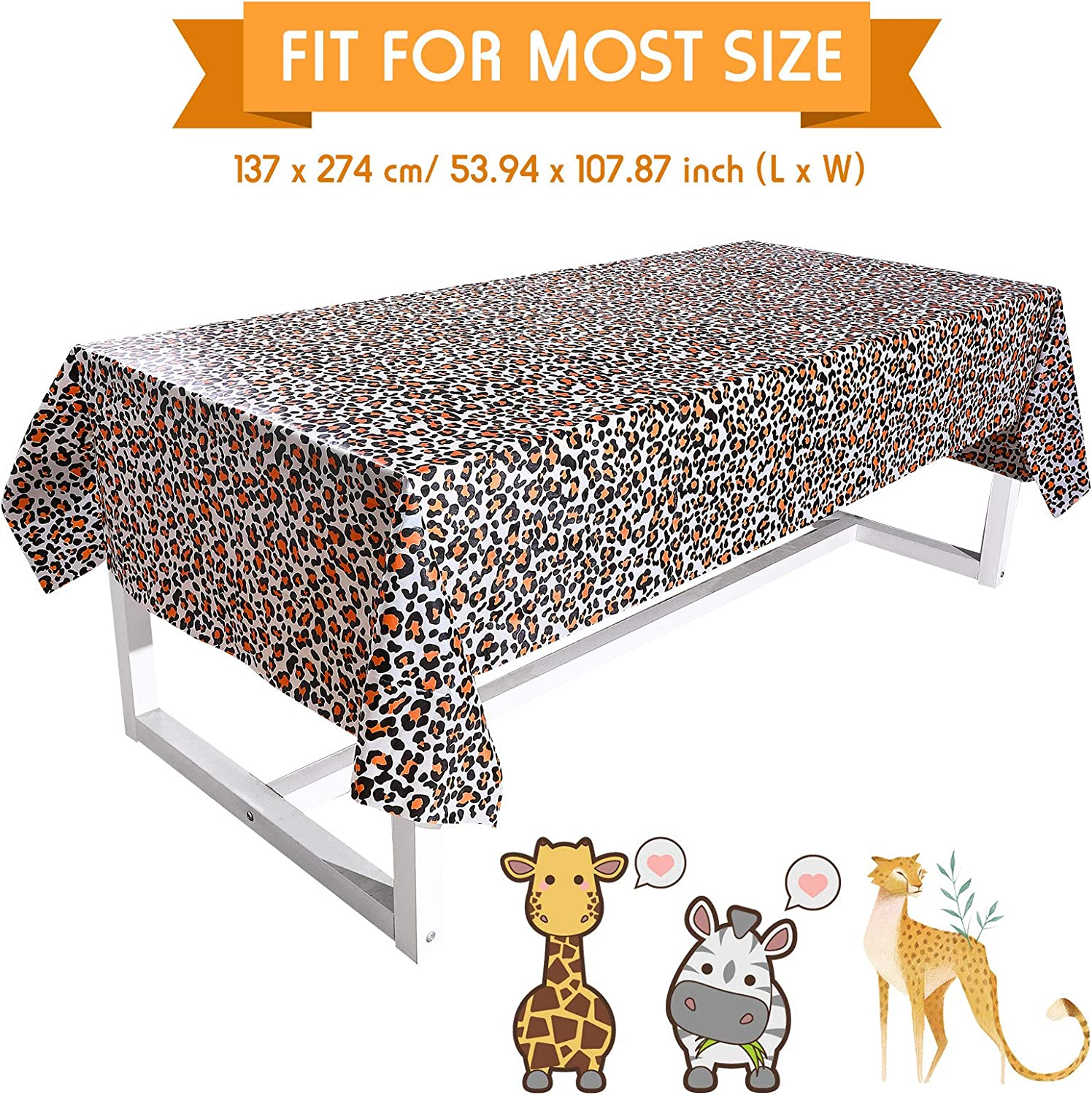 Leopard and Deer TableCovers for Birthday Animal Theme Baby Showers 3 Pieces Zoo Print Table Cover Animal Safari Theme Table Cover Jungle Animal Table Cover Zebra Zoo Jungle Safari Themed Party