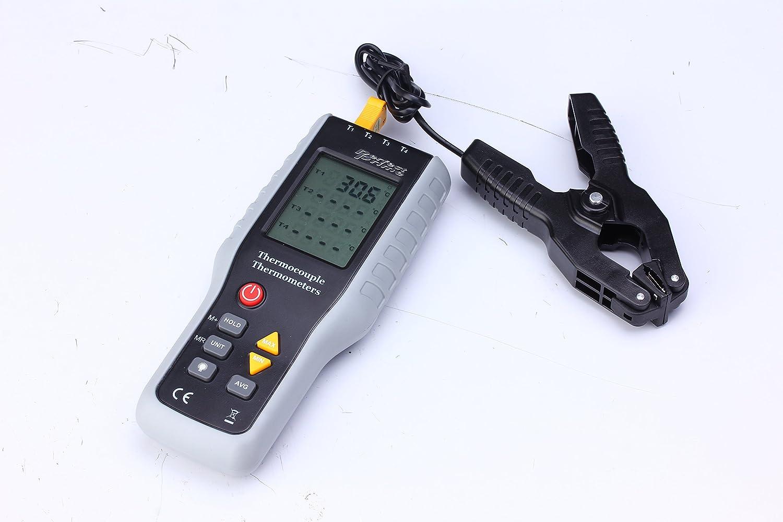 Perfect-Prime TC41/T1 Termometro y sensor de termopares digitales de 4 canales de tipo con abrazadera de tubo para -200~1372°C/2501°F Rango de medicion de ...