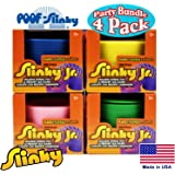 POOF-Slinky Original Plastic Slinky Jr. Blue, Green, Pink & Yellow Complete Gift Set Party Bundle - 4 Pack