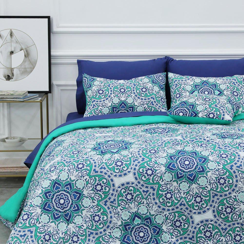 8 Piece Bed-in-a-Bag Comforter Set Includes 1 Comforter, 1 Decorative Pillows, 2 Shams, 4 Piece Sheet Set All-Season Printed Bedding Cotton Comforter Set Hypoallergenic (Tilework, Queen)