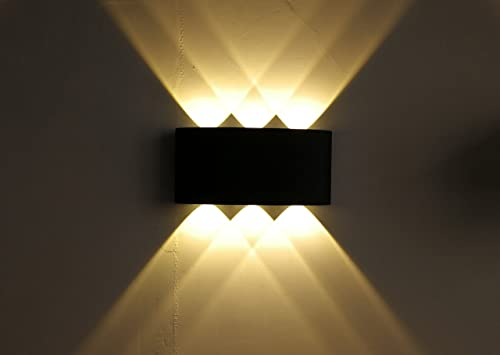 Up Down Out Door Wall Light COB LED Wall Lamp Up and Down 6W Aluminum Round Wall Light Modern Home Lighting Indoor Outdoor Decoration AC 110-220V IP54 Warm White, Black housing