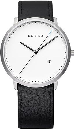 Bering 11139 Montre Cuir Homme Time Az2 Bracelet Quartz Noir Analogique mNnv80w