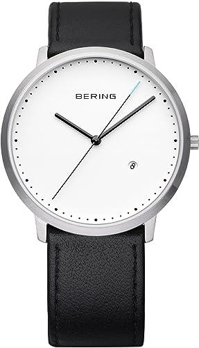 Bering Time Classic - Reloj de cuarzo para hombre, correa de cuero color negro: Amazon.es: Relojes