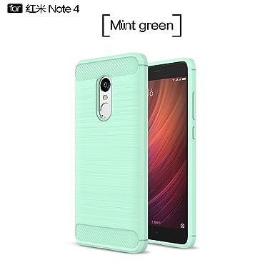 xiaomi redmi Note 4 Funda, Carcasa Case TPU Fibra de carbon Dibujo Funda para xiaomi redmi Note 4(Verde)
