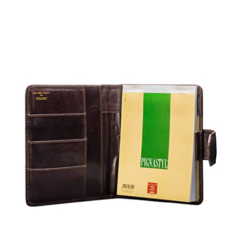 Maxwell Scott® Portafolio de Carpeta café en cuero Italiano de lujo A5 (Mozzano)