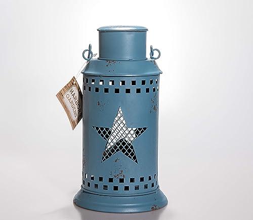 Harbor Gardens ZT171433 Essex Collection Decorative Lantern, 14.5 H X 5.5 W X 5.5 L, Blue