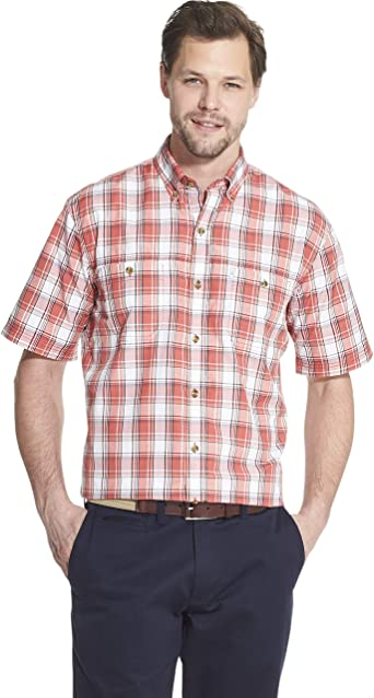 G.H. Bass & Co. Explorer - Camisa de pesca de manga corta para hombre, diseño de cuadros, con bolsillo - Rojo - Small: Amazon.es: Ropa y accesorios