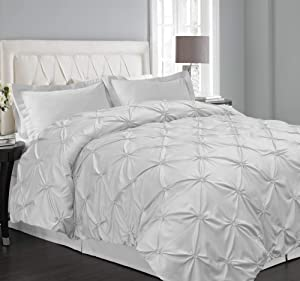 Blue Ridge Home Fashions Microfiber Floral Pintuck King in White Color Duvet Cover Set
