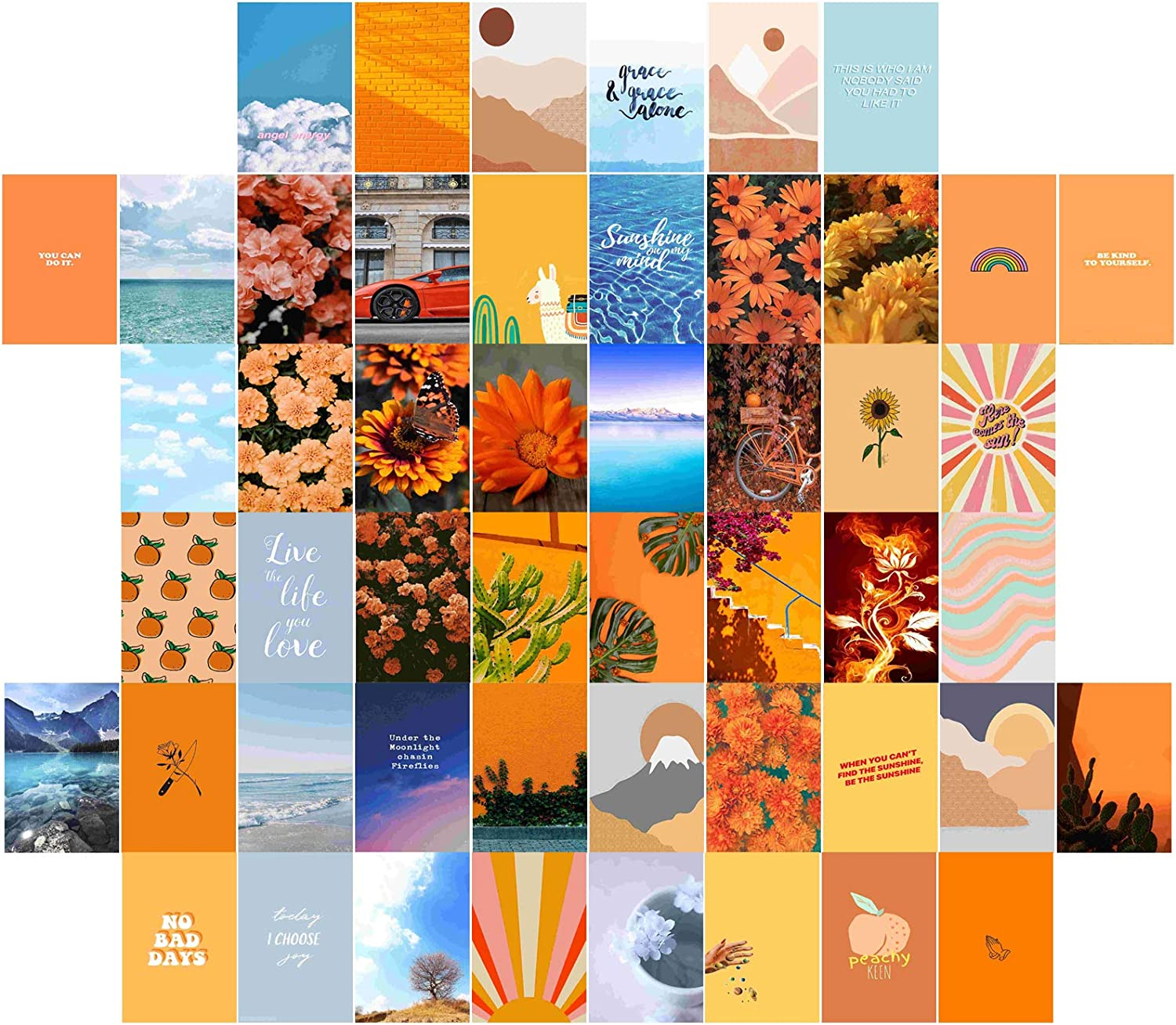 PONPANI 50 Pieces Room Decor for Bedroom Decor, Wall Decor Posters Collage Kit Retro Style Photo Collection for Teens and Young Adults, Peach Teal Boho Wall Art Aesthetic, 4x6inch Photo