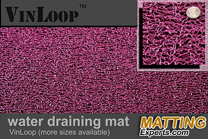 Bathroom Locker Room Shower 4x5, Burgundy Spaghetti Mat by MattingExperts Drains Water VinLoop Vinyl Pool Comfortable Looped Mat