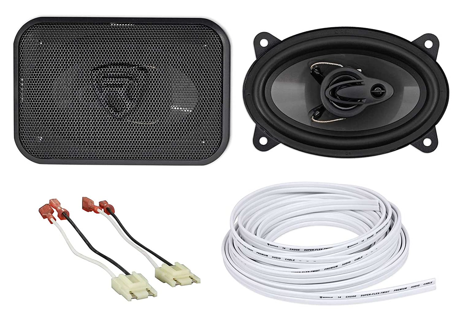 "Rockville 4x6"" Front Factory Speaker Replacement Kit For 87-95 Jeep Wrangler YJ"