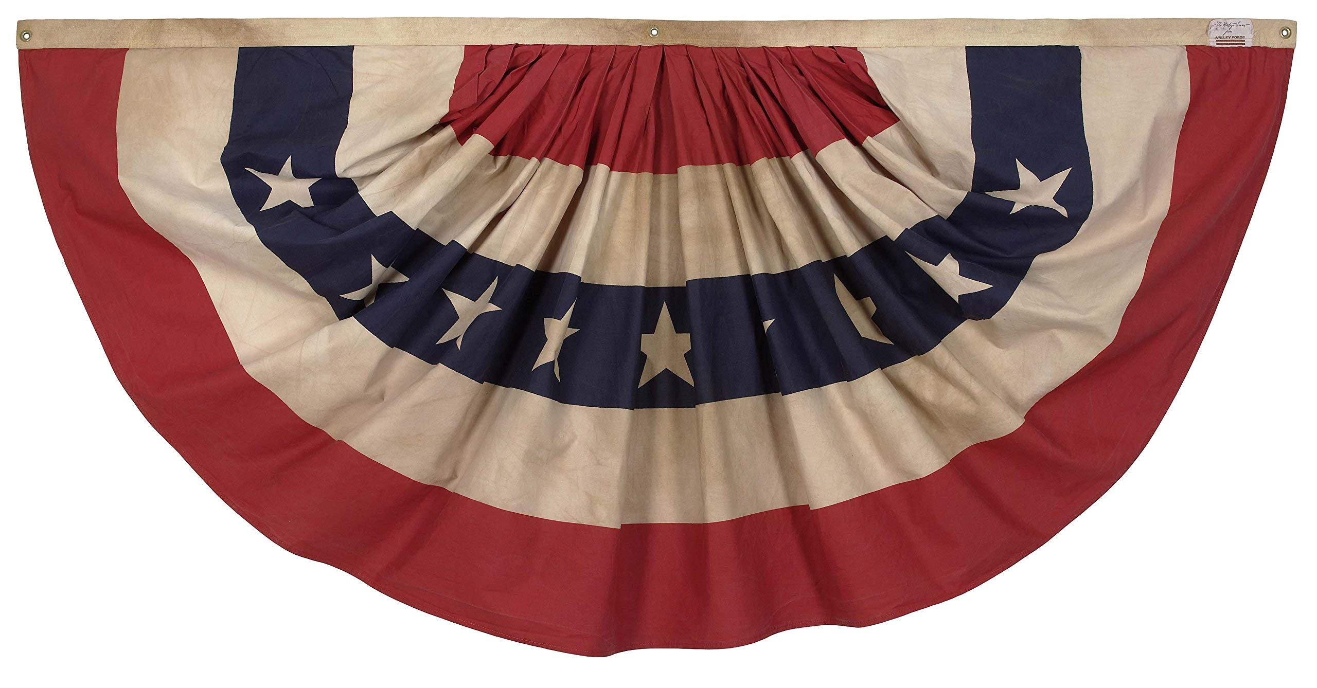 Valley Forge, Bunting Banner, Cotton, 3' x 6', 100% Made in USA, Heritage Series, Antiqued Striped Full Fan Bunting (Renewed)