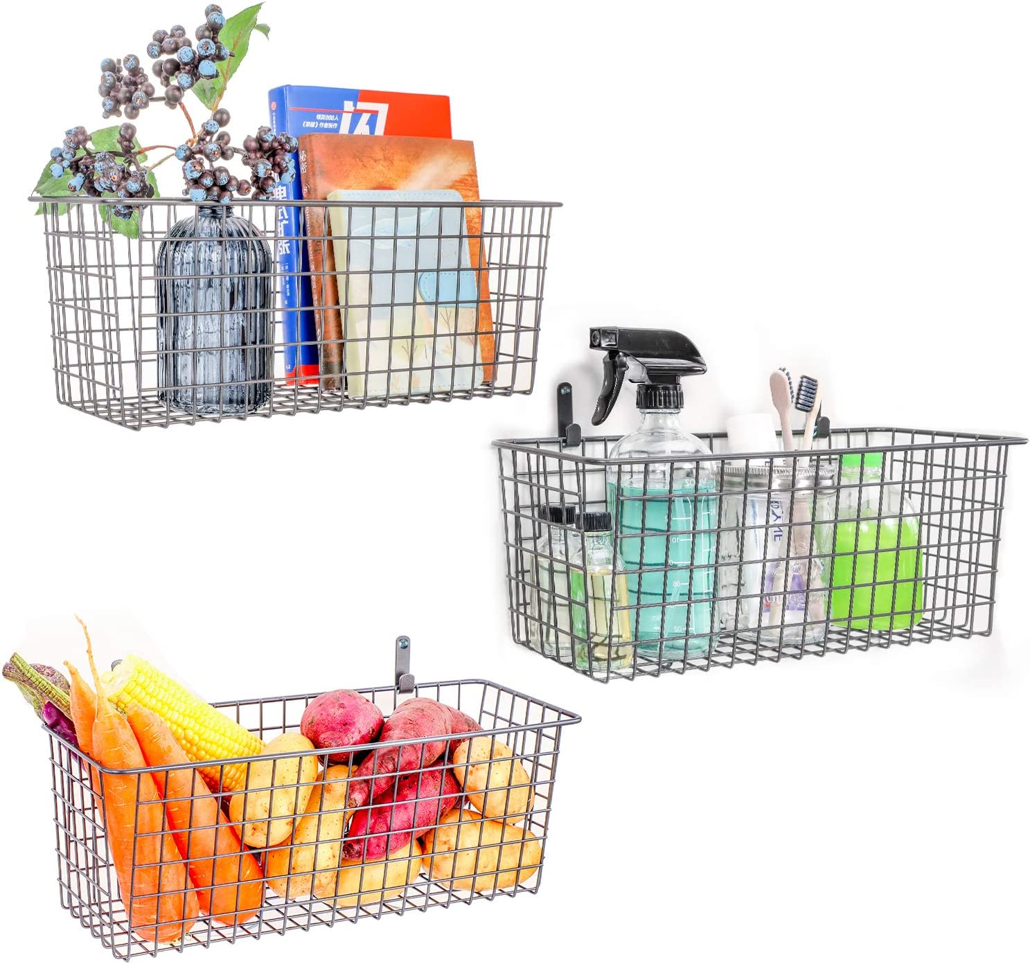 3 Set Extra Large Wall Basket for Storage, Wall Mount Sturdy Steel Wire Baskets, Metal Hanging Cabinet Bin for Organization, Rustic Farmhouse Decor, Kitchen Bathroom Accessories, Industrial Gray