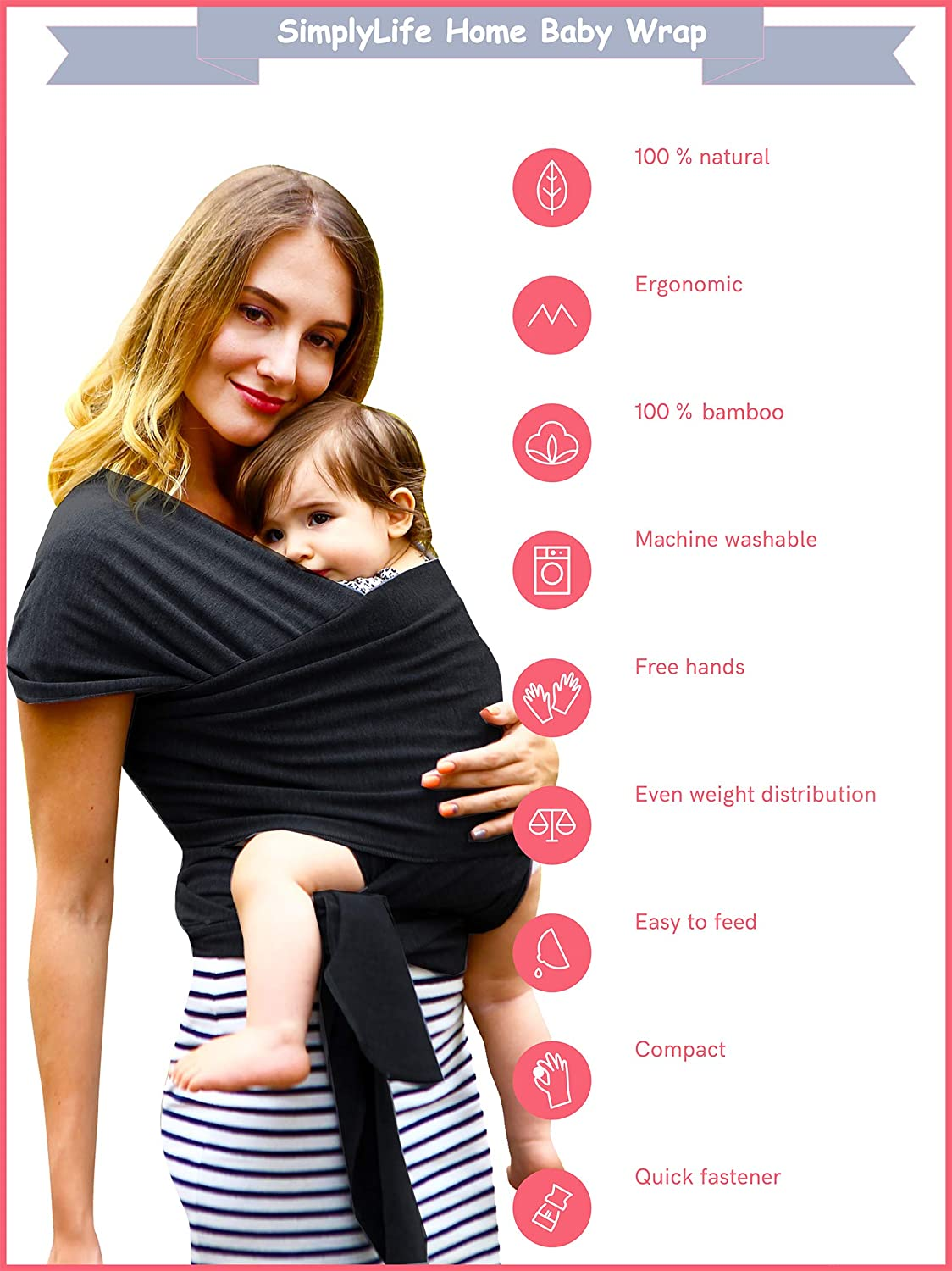 Toddlers Black New-Borns one Size Simple Being Baby wrap Sling Carrier Stretchy Bamboo Fabric Soft Breathable Lightweight for Infants ergonomically Designed Hypoallergenic