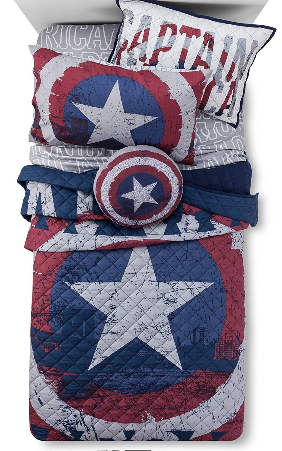 Marvel Captain America Quilt / Sham & SUPER HEROES Sheet Set (QUILT: TWIN/TWIN XL SIZE - SHEET: TWIN SIZE)