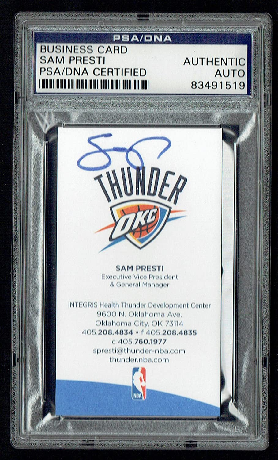 Sam presti signed autograph auto business card oklahoma thunder gm sam presti signed autograph auto business card oklahoma thunder gm psa slabbed at amazons sports collectibles store magicingreecefo Images