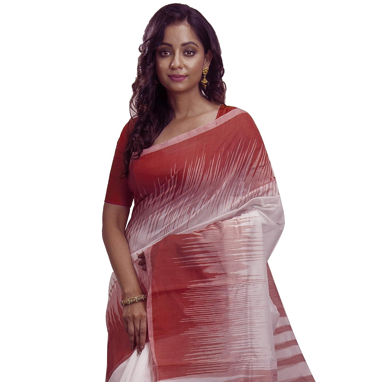 8863a05c14 Avik Creations Ikkat Tant Jamdani Handloom Silk Cotton Saree Maroon White:  Amazon.in: Clothing & Accessories