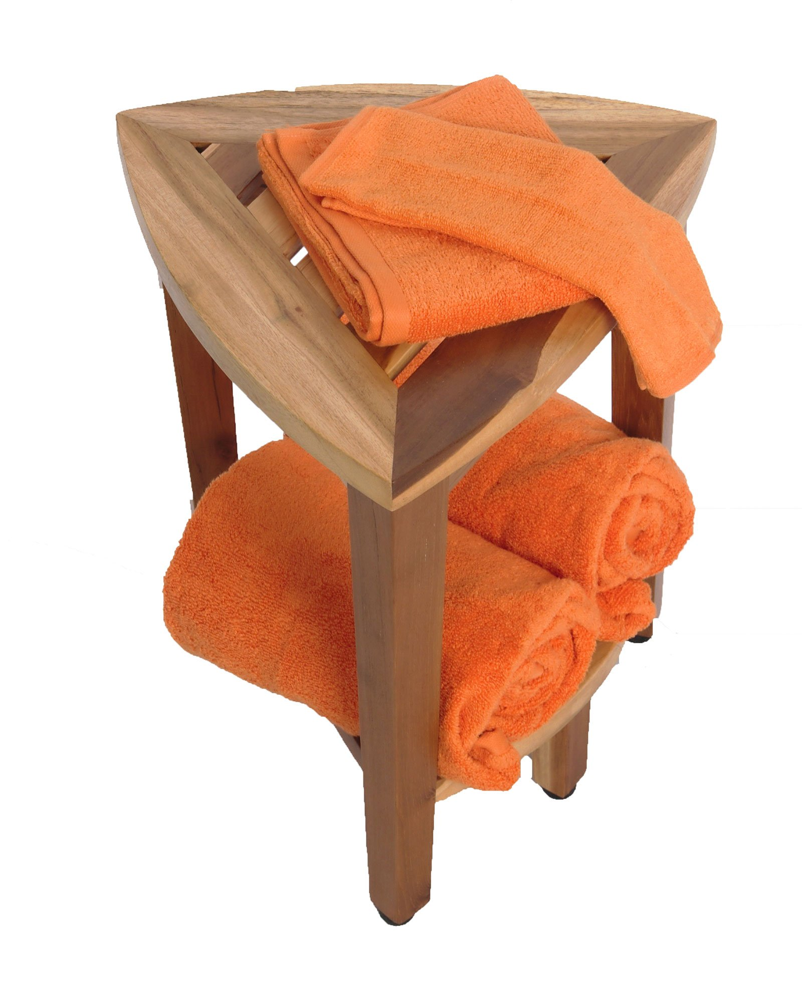 New- 18'' EcoDecors EarthyTeak™-Patent Pending- FULLY ASSEMBLED Compact Teak Corner Shower Bench With Shelf- Shower Sitting, Storage, Shaving Foot Rest by EcoDecors (Image #7)