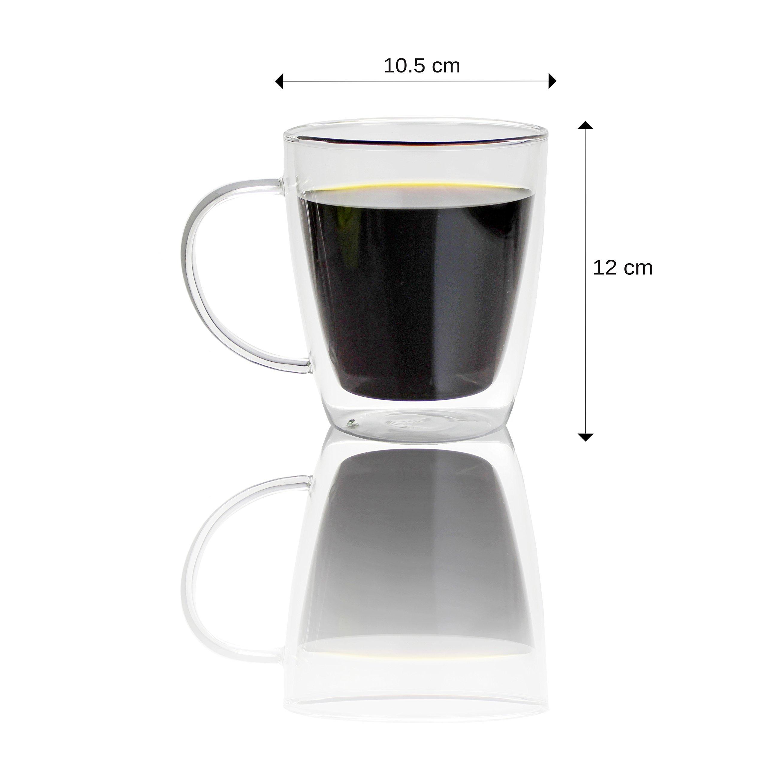 Doppelwandiges Glas Kaffee Tassen, 500ml, Set von 2, isoliertem Glas Tassen für Morgen heißen Kaffee, Tee oder kalte Getränke