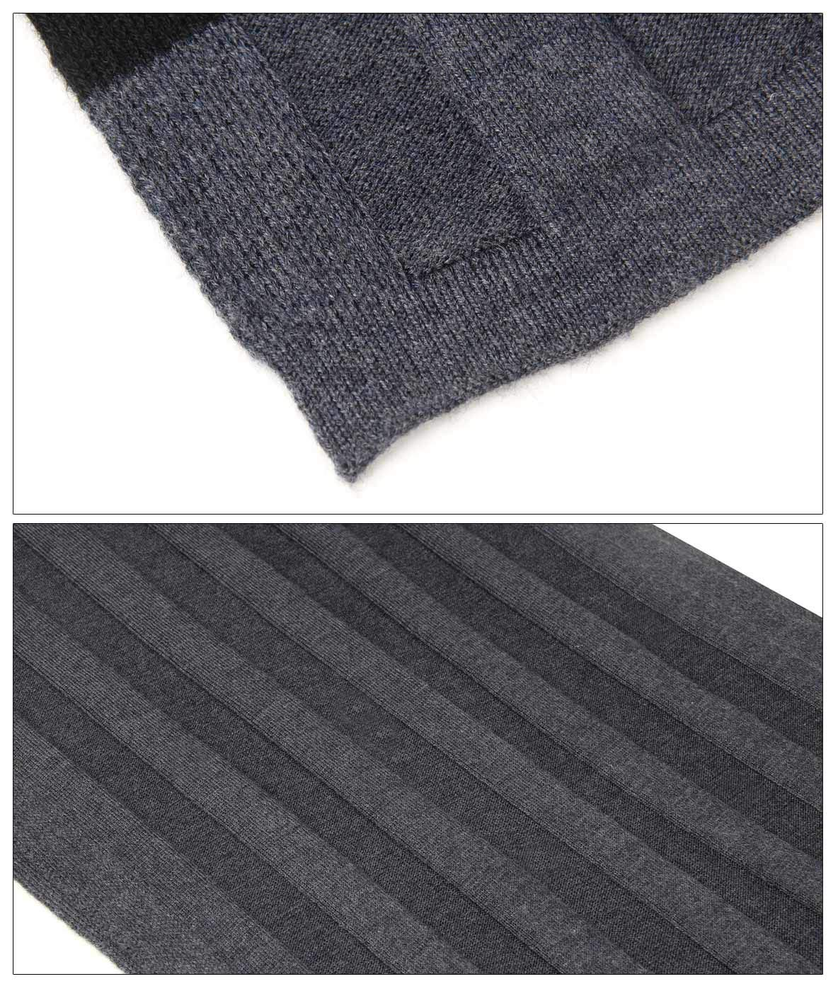 Men Plain Thermal Scarf Knitted Striped Winter Scarves One Size Leisure Business Men Warm Neckerchief Gray by Panegy (Image #8)