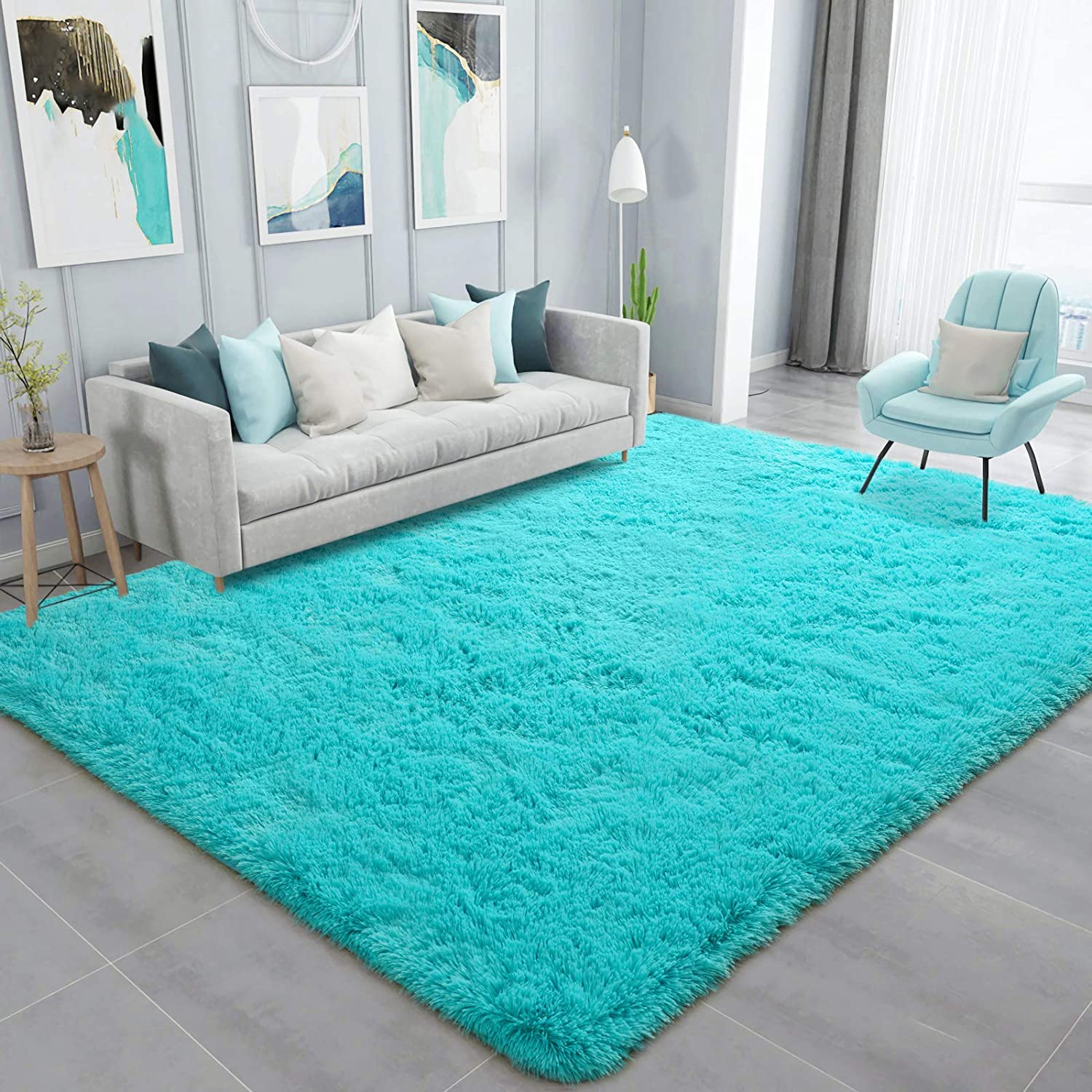 Ompaa Soft Fluffy Area Rug for Living Room Bedroom, 5x8 Teal Blue Plush Shag Rugs, Fuzzy Shaggy Accent Carpets for Kids Girls Rooms, Modern Apartment Nursery Dorm Indoor Furry Decor