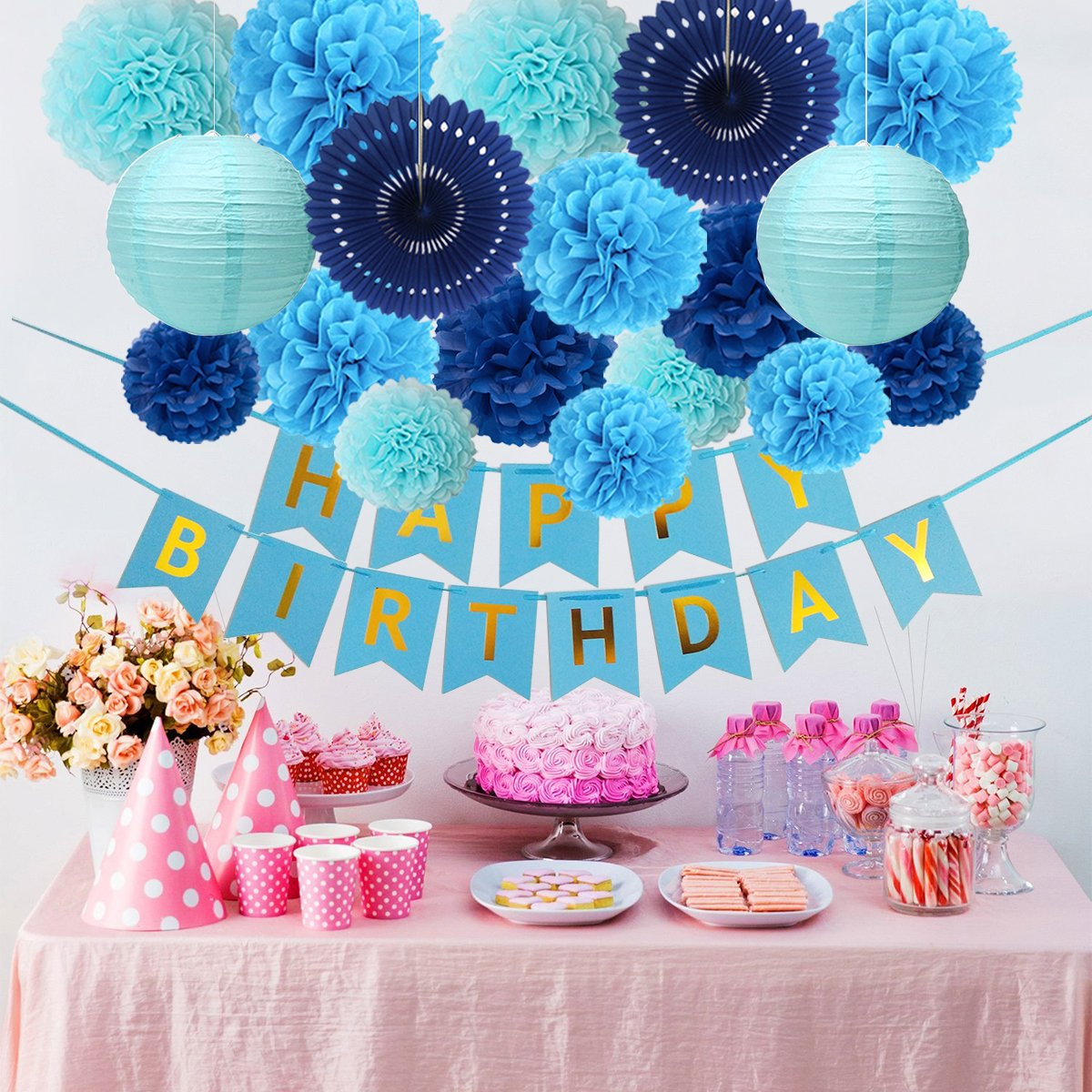 Blue Birthday Party Decorations Happy Banner 14 Paper Pom Poms 2 Lanterns Fans