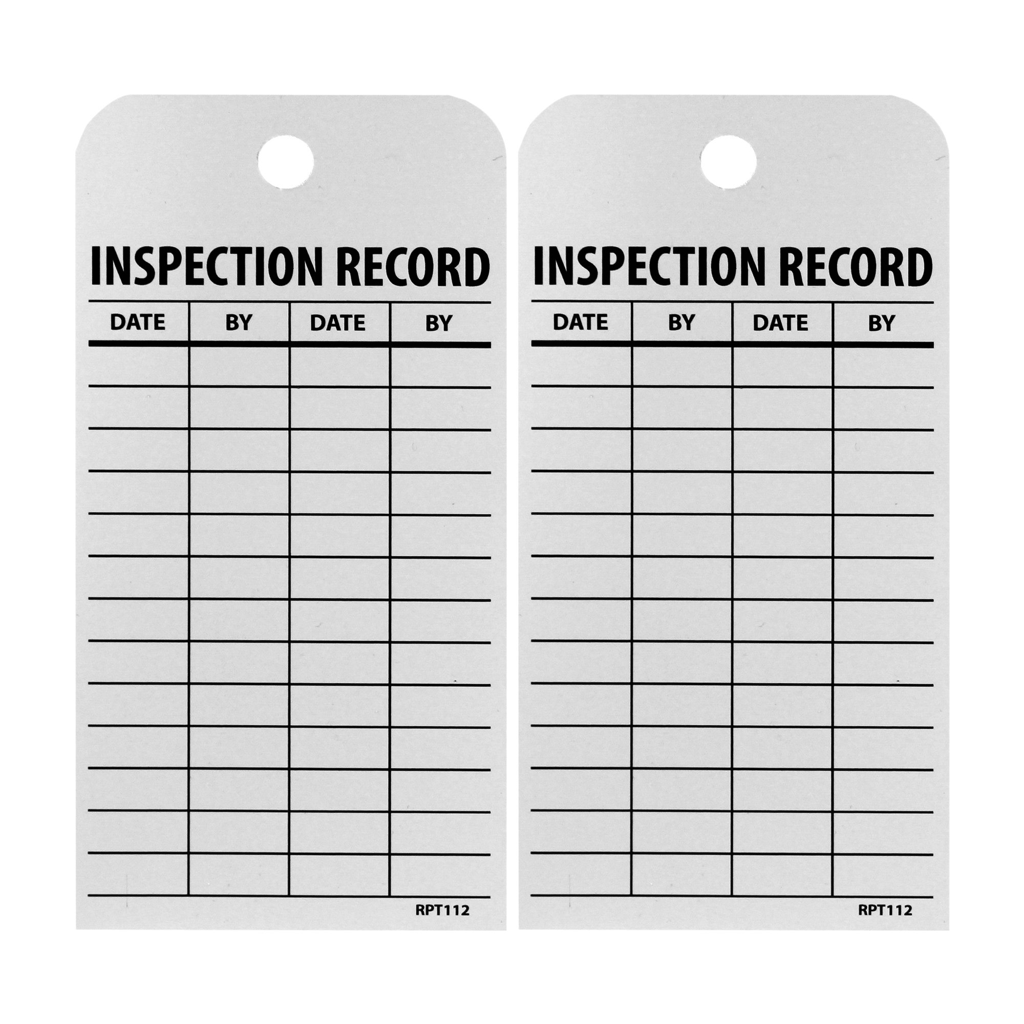 NMC RPT112 Accident Prevention Tag, ''INSPECTION RECORD'', 3'' Width x 6'' Height, Unrippable Vinyl, Black on White (Pack of 25) by NMC