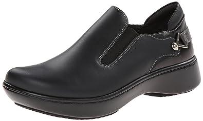 Naot Women's Nautilus Flat, Jet Black Leather/Tin Gray Leather/Black Madras  Leather