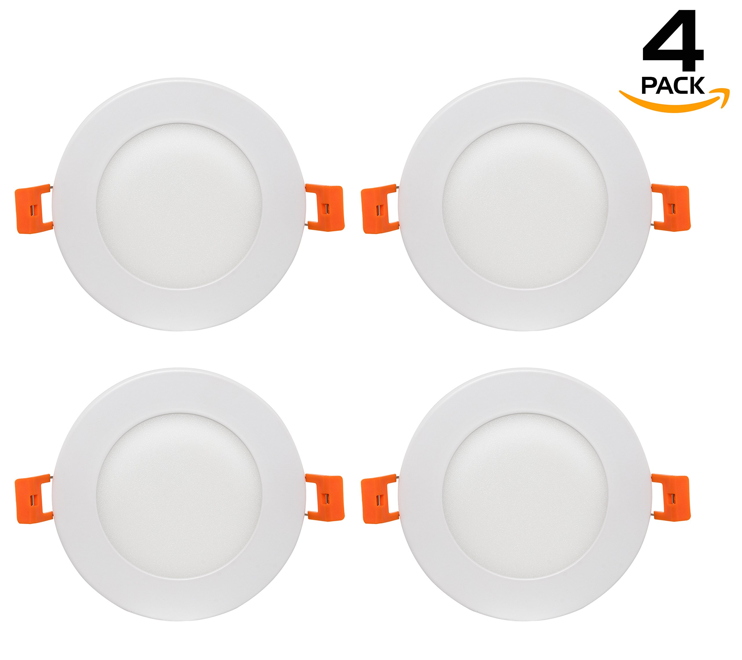 Westgate Lighting 9W 4'' inch Ultra Thin Slim LED Recessed Light - Dimmable Retrofit Downlight Smooth Trim - Junction Box Included - No Housing Required - Ceiling Lights (4 Pack, 3000K Soft White)