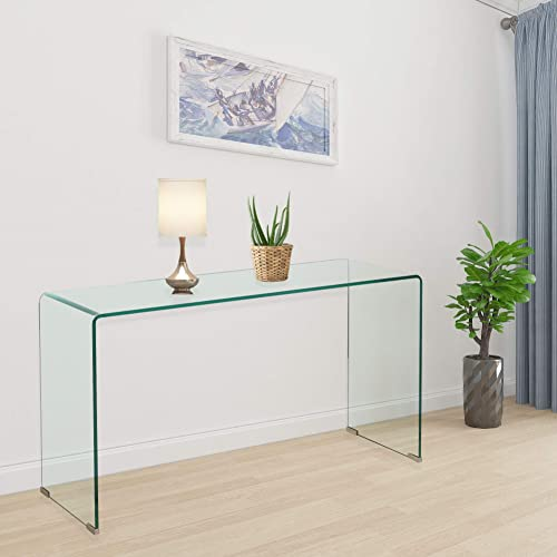 2020 Clear Glass Narrow Console Table Behind Couch Table 10 Inch Narrow Entryway Table 43.3×13.8×29.5 inch - the best living room table for the money