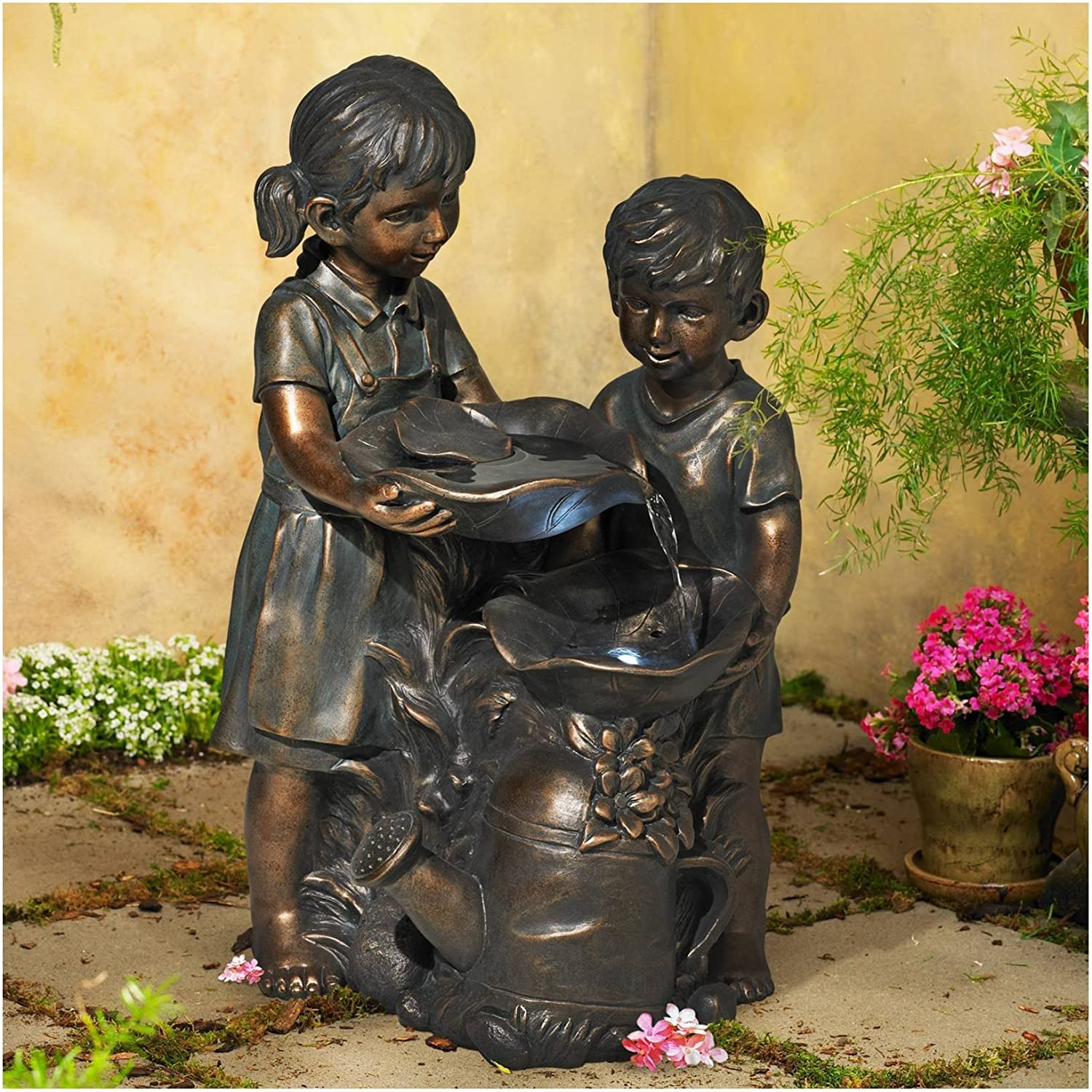 "John Timberland Boy and Girl Indoor/Outdoor Bronze 23"" High Fountain"