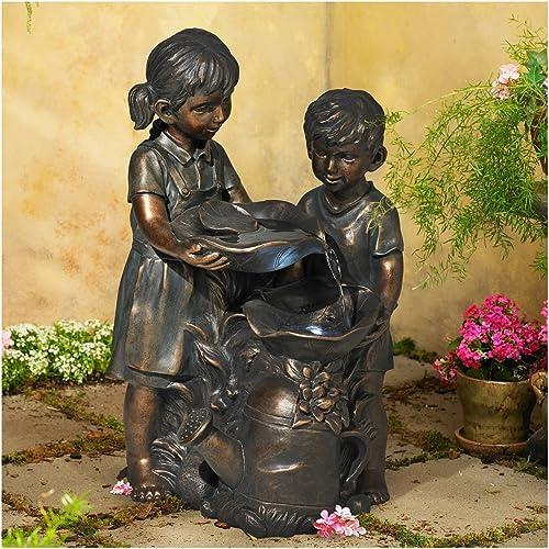 John Timberland Boy and Girl Outdoor Floor Water Fountain