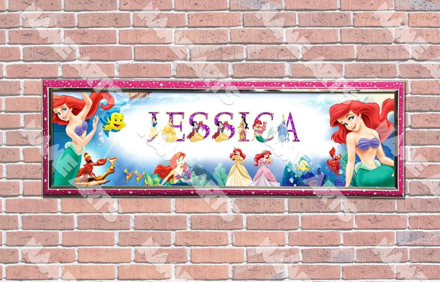 Personalized Customized Frozen #2 Name Banner Wall Decor Poster with Frame Set