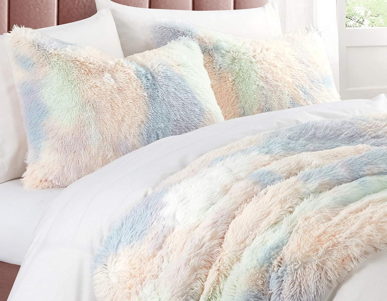 Heritage Club Kids and Teen Faux Fur Long Hair Rainbow Comforter Alternative Microfiber – Ultra Soft – Hypoallergenic – All Season – Tie Dye Pastel-Breathable 3 Piece Set, Full