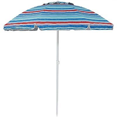 Sunnydaze 6-Foot Vented Beach Umbrella with Tilt Function and UV 50 Sun Protection, Pacific Stripe : Garden & Outdoor