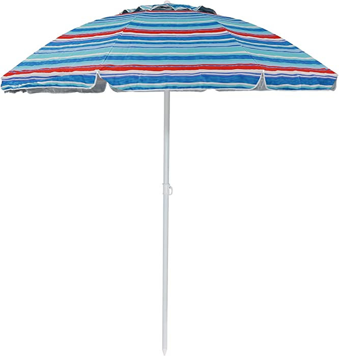 Sunnydaze 6-Foot Vented Beach Umbrella with Tilt Function and UV 50 Sun Protection, Pacific Stripe