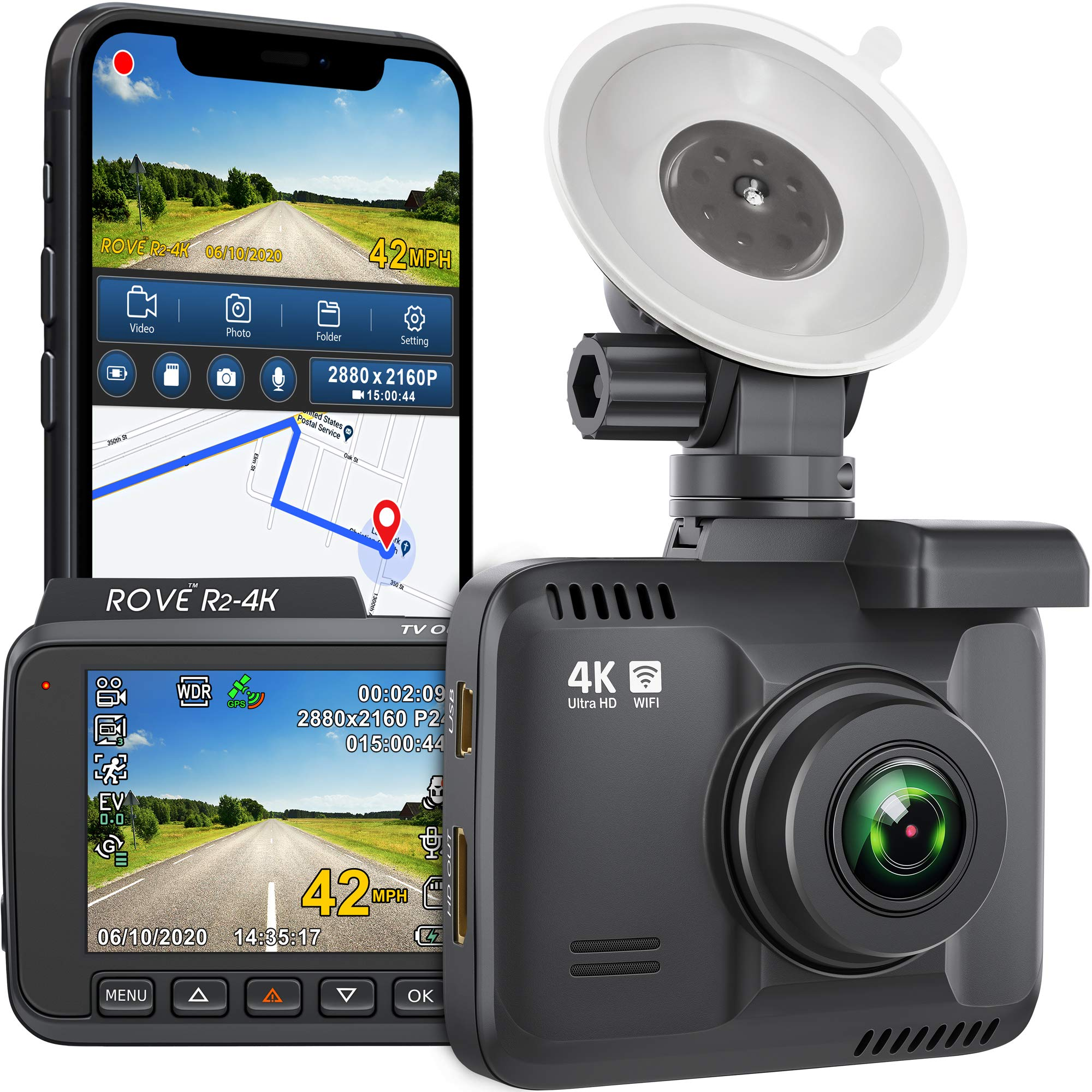 "Rove R2- 4K Dash Cam Built in WiFi GPS Car Dashboard Camera Recorder with UHD 2160P, 2.4"" LCD, 150° Wide Angle, WDR, Night Vision"