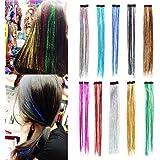 "Xx Shop 2pcs Clip in Synthetic Fibre Glitter Hair Tinsel Extensions 16"""